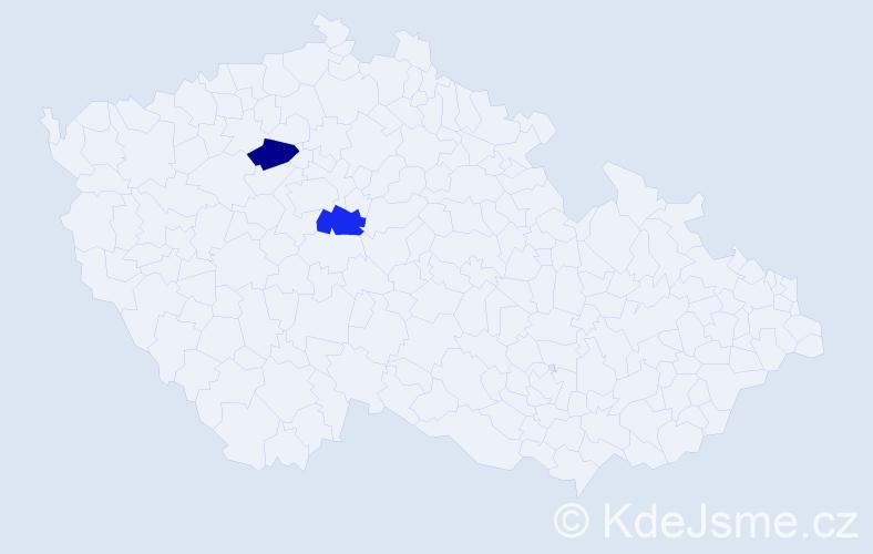 Příjmení: 'Fenová', počet výskytů 2 v celé ČR
