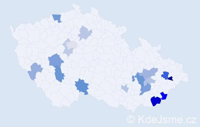 Příjmení: 'Bačková', počet výskytů 38 v celé ČR