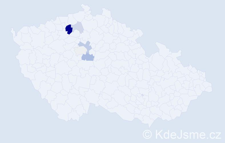 Příjmení: 'Kmječová', počet výskytů 13 v celé ČR