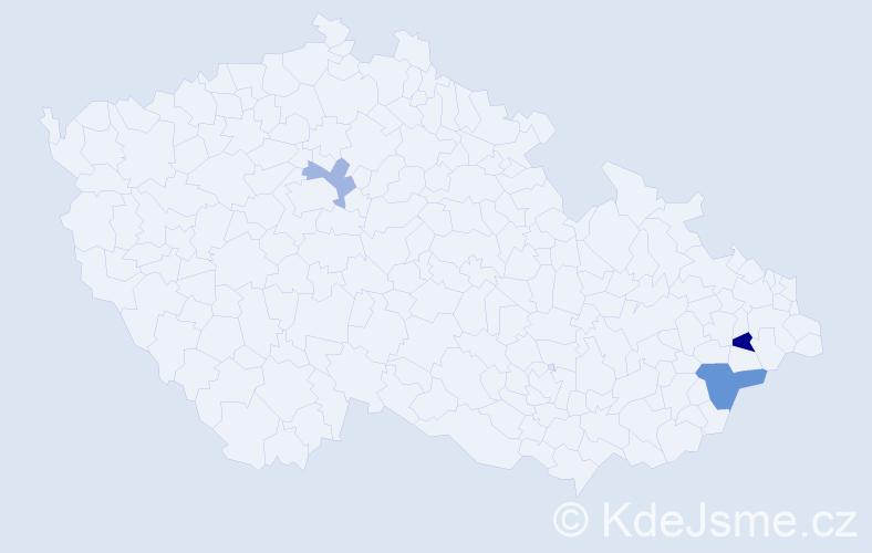 Příjmení: 'Ištvánech', počet výskytů 9 v celé ČR