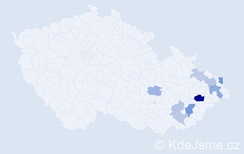 Příjmení: 'Capandová', počet výskytů 21 v celé ČR