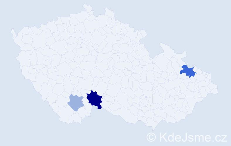 Příjmení: 'Dželili', počet výskytů 12 v celé ČR
