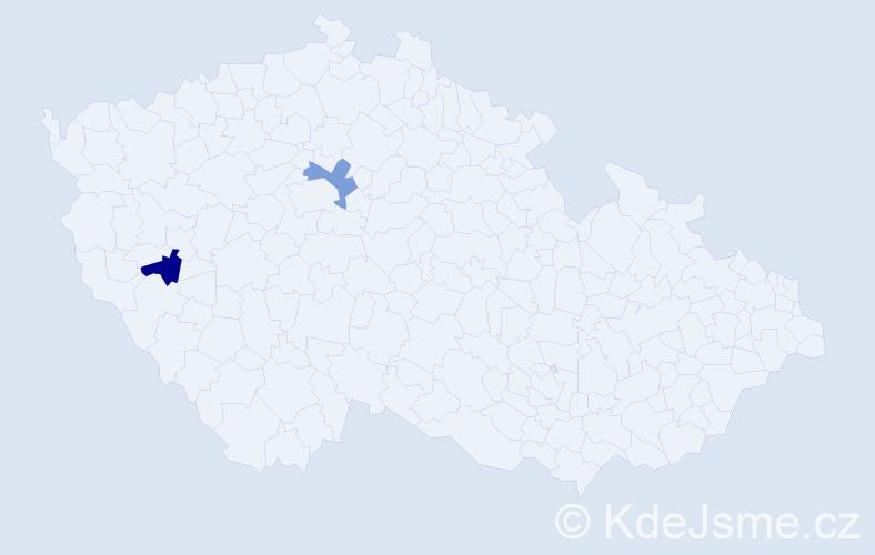 Příjmení: 'Kendlbacher', počet výskytů 2 v celé ČR