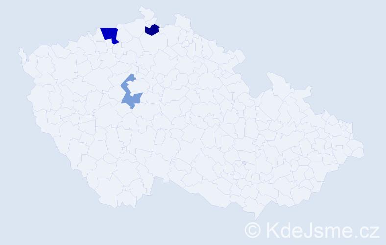 Příjmení: 'Egermeierová', počet výskytů 5 v celé ČR