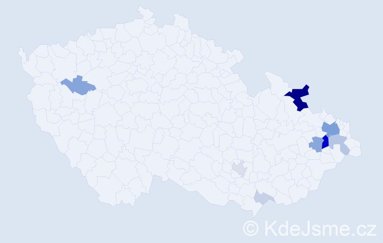 Příjmení: 'Cága', počet výskytů 34 v celé ČR