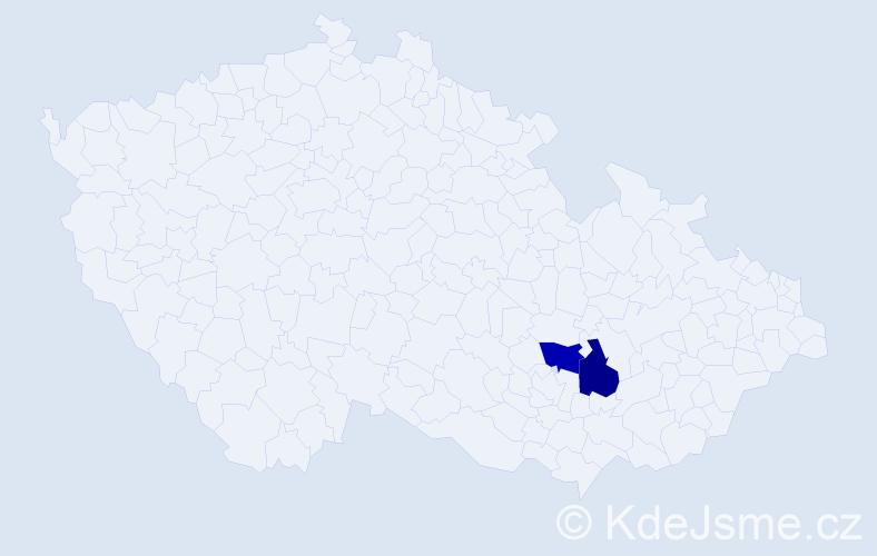 Příjmení: 'Kňourová', počet výskytů 2 v celé ČR