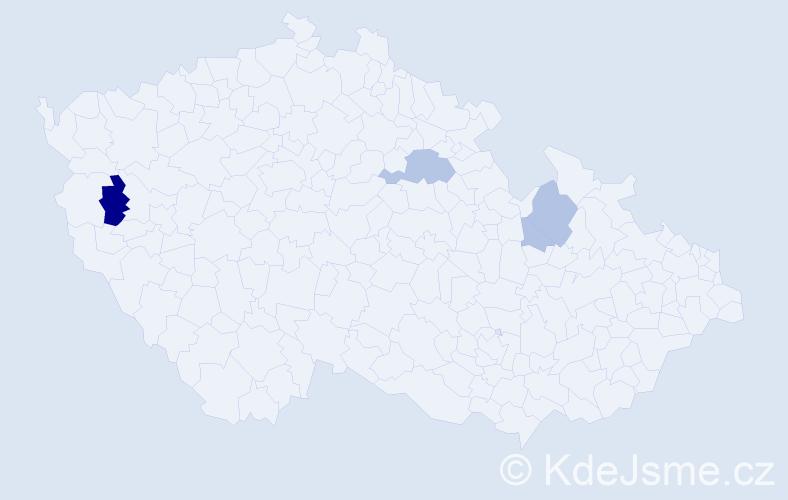 Příjmení: 'Eib', počet výskytů 10 v celé ČR