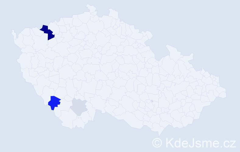 Příjmení: 'Barantál', počet výskytů 10 v celé ČR