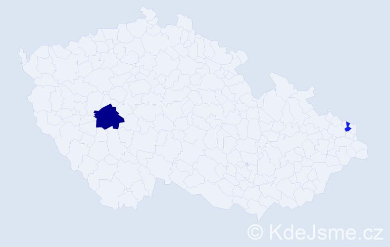 Příjmení: 'Gajdacsiová', počet výskytů 6 v celé ČR