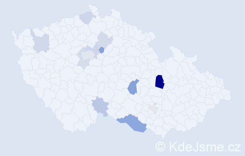 Příjmení: 'Gabašová', počet výskytů 22 v celé ČR