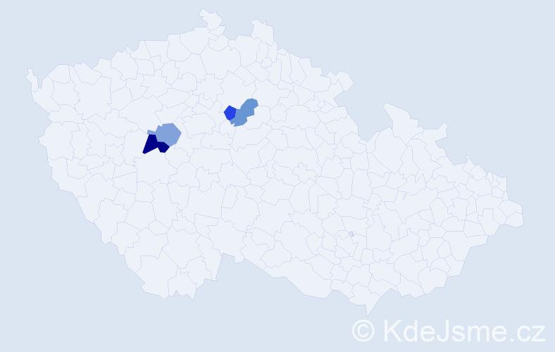 Příjmení: 'Cegelský', počet výskytů 5 v celé ČR