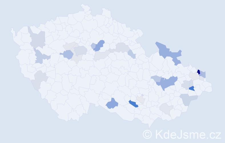 Příjmení: 'Krajčí', počet výskytů 87 v celé ČR