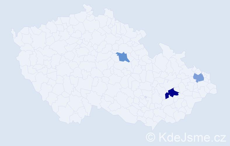 Příjmení: 'Gadlena', počet výskytů 9 v celé ČR