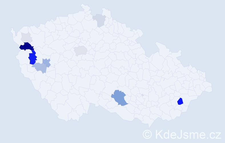 Příjmení: 'Čeček', počet výskytů 42 v celé ČR