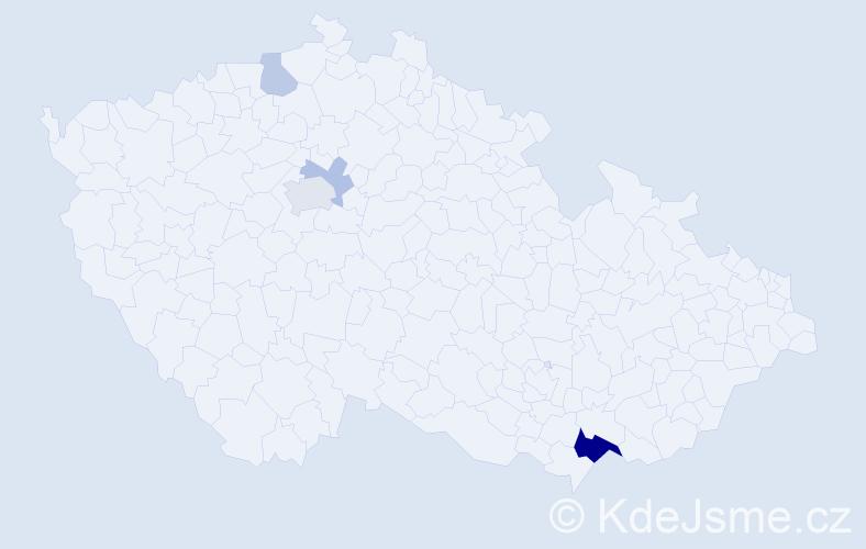 Příjmení: 'Eimut', počet výskytů 10 v celé ČR