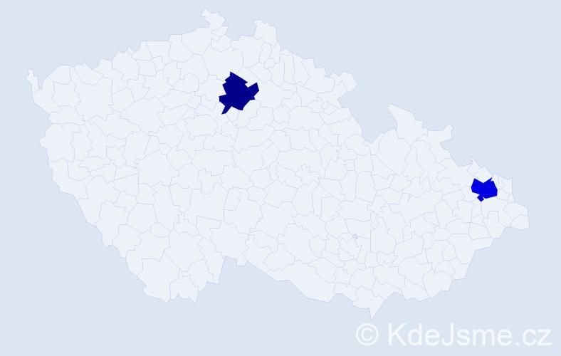 Příjmení: 'Hobľák', počet výskytů 3 v celé ČR
