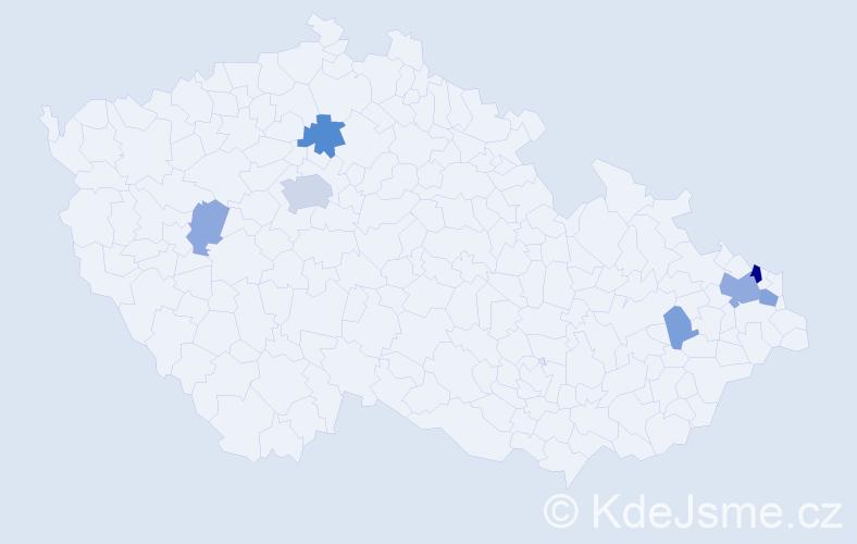 Příjmení: 'Gasior', počet výskytů 18 v celé ČR