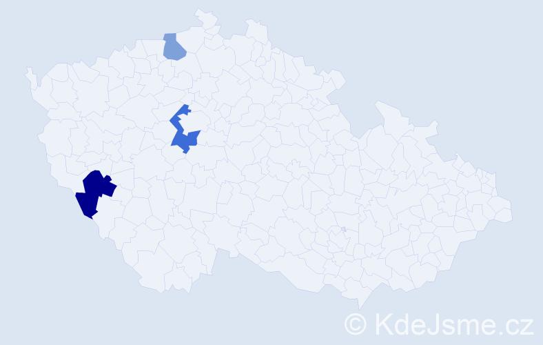 Příjmení: 'Imrichovič', počet výskytů 5 v celé ČR