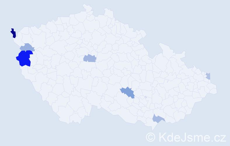 Příjmení: 'Jágrik', počet výskytů 19 v celé ČR