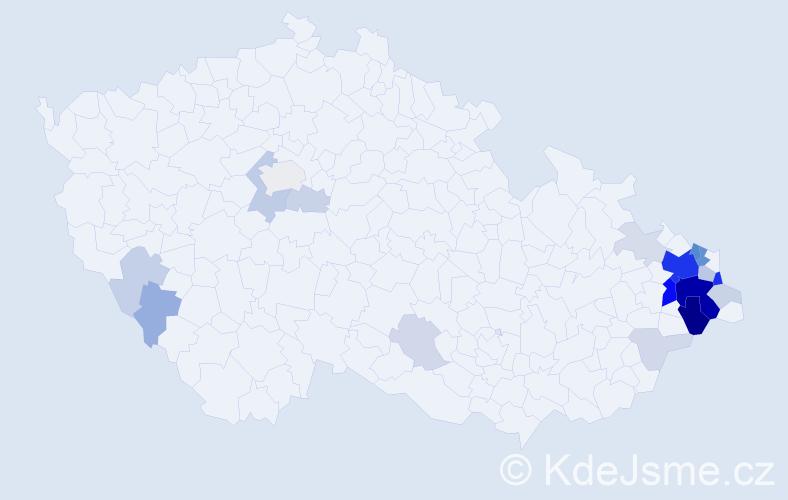 Příjmení: 'Kacíř', počet výskytů 84 v celé ČR