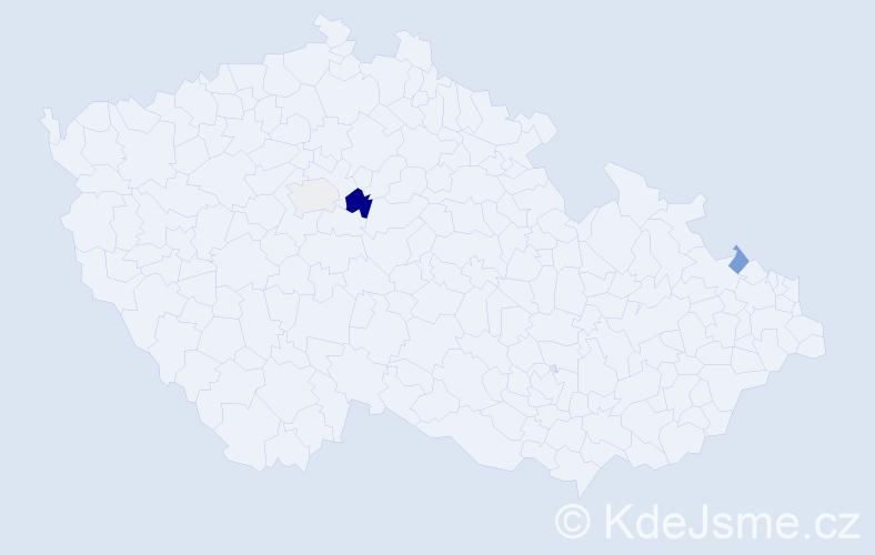 Příjmení: 'Cooková', počet výskytů 5 v celé ČR