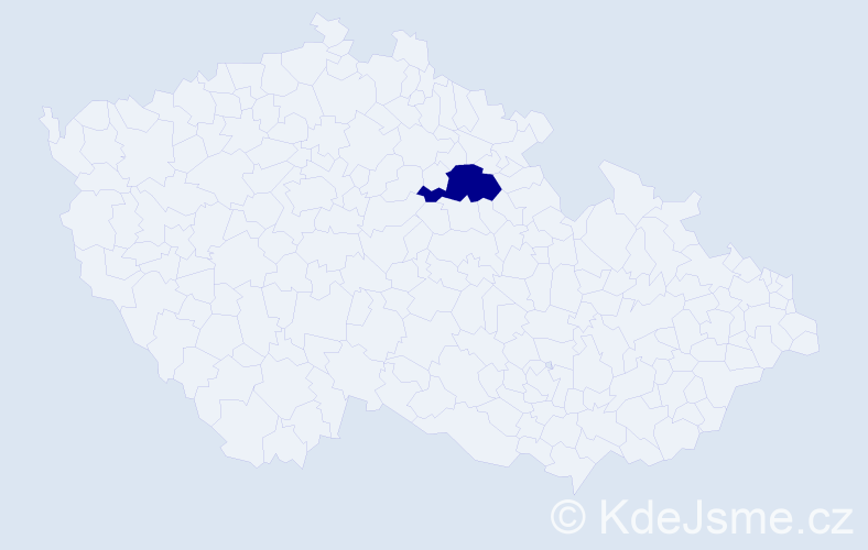 """Příjmení: '""""Fantová Hlaváčková""""', počet výskytů 1 v celé ČR"""