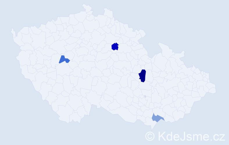 Příjmení: 'Danajka', počet výskytů 5 v celé ČR