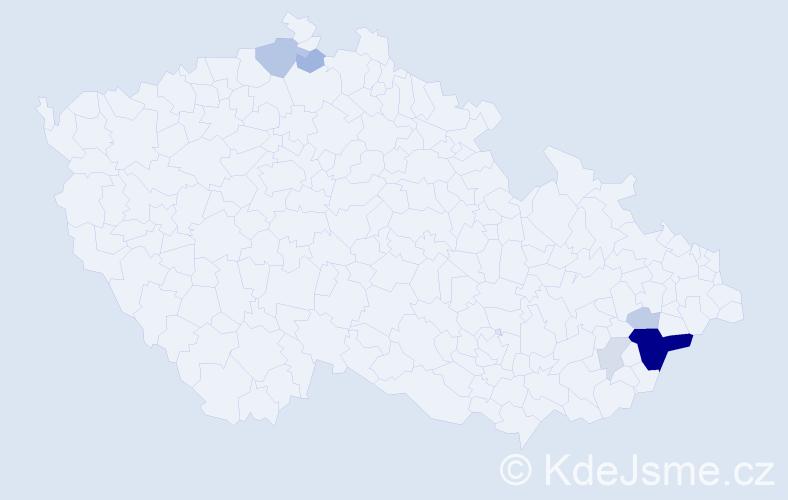 Příjmení: 'Bělota', počet výskytů 20 v celé ČR
