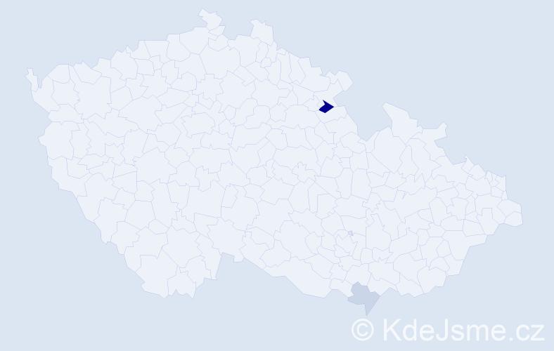 Příjmení: 'Harvaníková', počet výskytů 4 v celé ČR