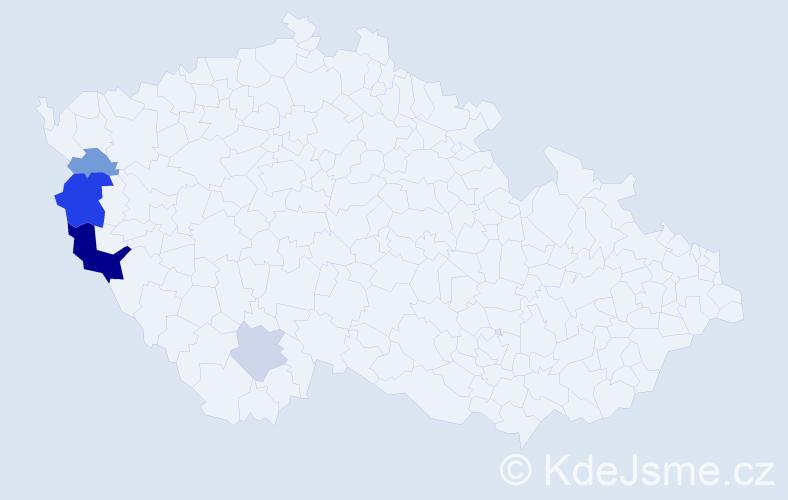 Příjmení: 'Fajfárek', počet výskytů 10 v celé ČR