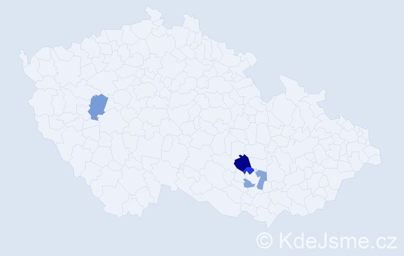 Příjmení: 'Čikovová', počet výskytů 5 v celé ČR