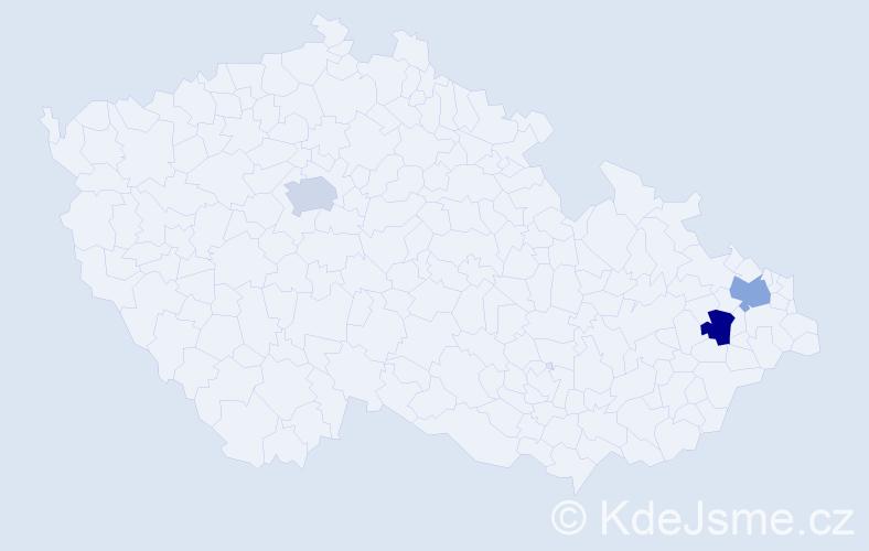 Příjmení: 'Jachniková', počet výskytů 3 v celé ČR
