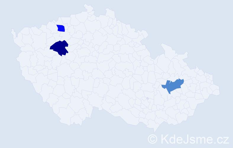 Příjmení: 'Čemez', počet výskytů 3 v celé ČR