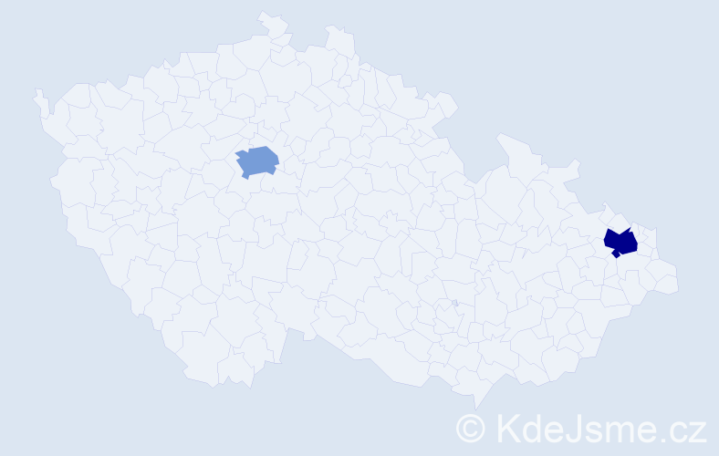 Příjmení: 'Čársky', počet výskytů 2 v celé ČR