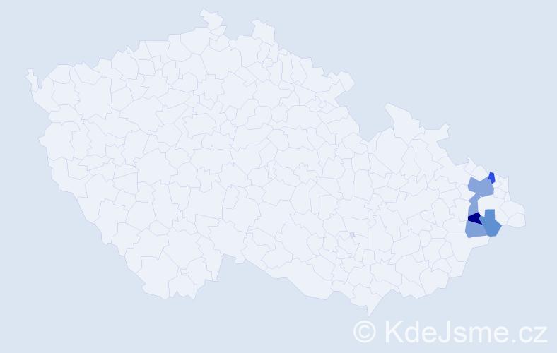 Příjmení: 'Čečiva', počet výskytů 12 v celé ČR