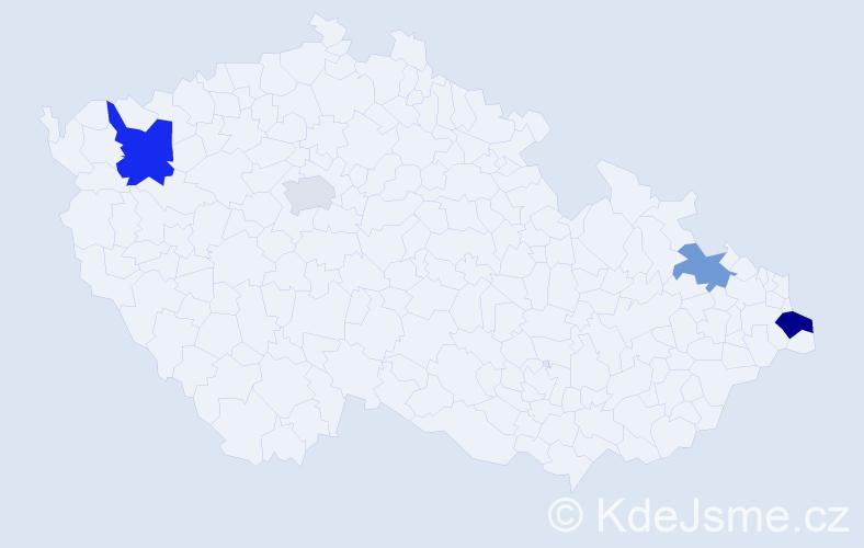 Příjmení: 'Laciak', počet výskytů 6 v celé ČR