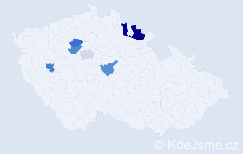 Příjmení: 'Brikner', počet výskytů 13 v celé ČR