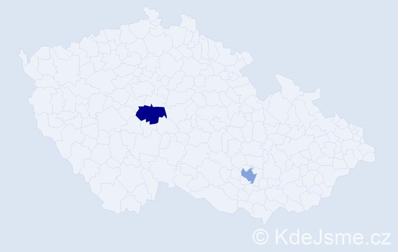 Příjmení: 'Dessová', počet výskytů 2 v celé ČR