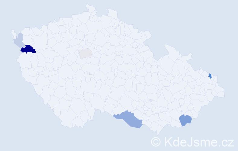 Příjmení: 'Čučelová', počet výskytů 18 v celé ČR
