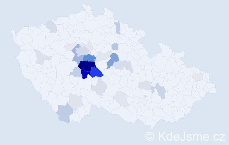 Příjmení: 'Klápová', počet výskytů 107 v celé ČR