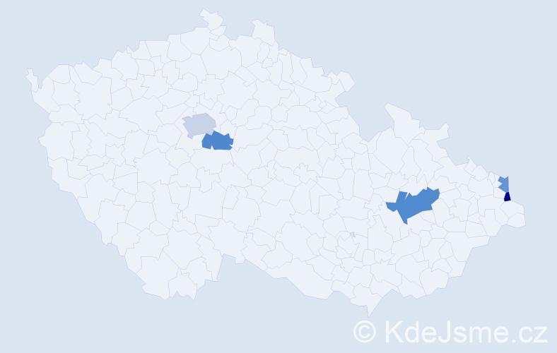 Příjmení: 'Janoszková', počet výskytů 7 v celé ČR
