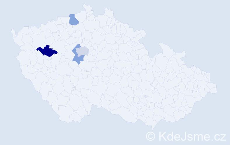 Příjmení: 'Blomann', počet výskytů 5 v celé ČR