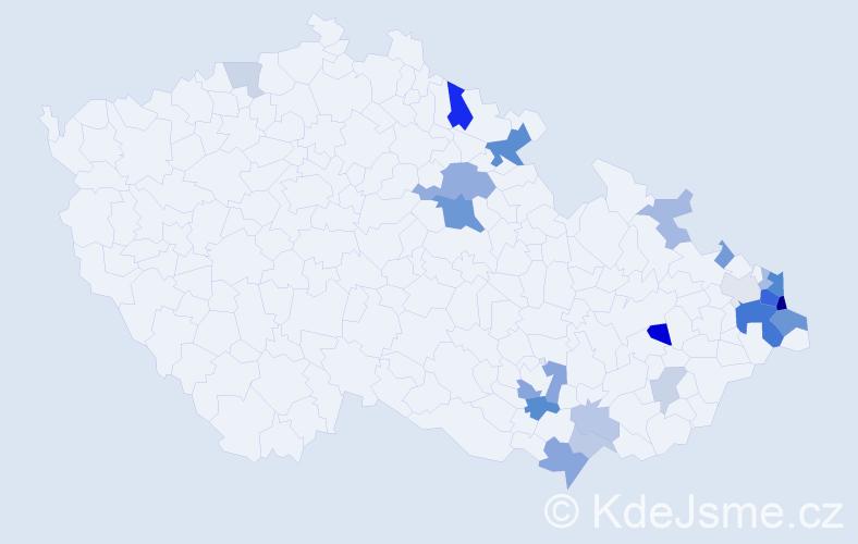 Příjmení: 'Gančarčíková', počet výskytů 57 v celé ČR