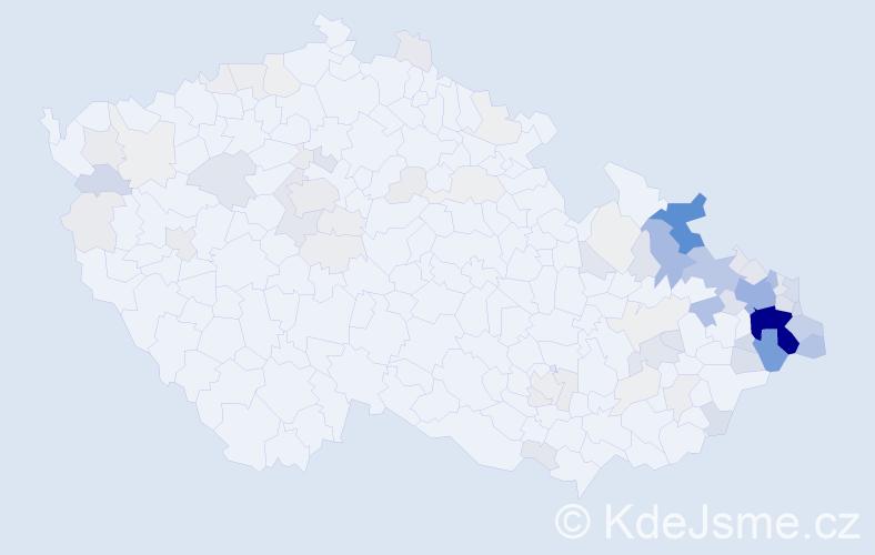 Příjmení: 'Kaňoková', počet výskytů 408 v celé ČR