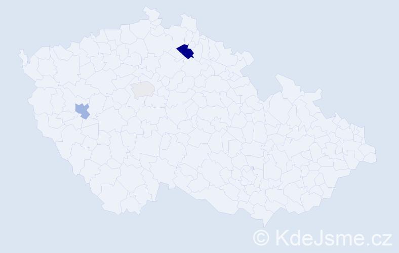 Příjmení: 'Gaizl', počet výskytů 6 v celé ČR