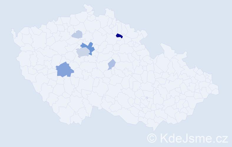 Příjmení: 'Encová', počet výskytů 34 v celé ČR