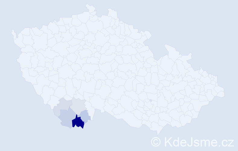 Příjmení: 'Dekretová', počet výskytů 16 v celé ČR