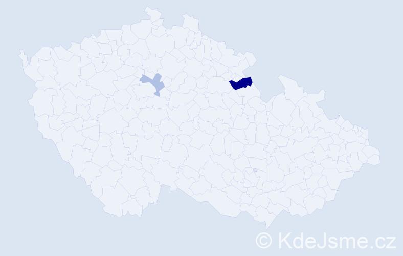 Příjmení: 'Jedinak', počet výskytů 3 v celé ČR