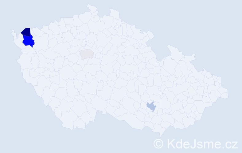 Příjmení: 'Čako', počet výskytů 8 v celé ČR