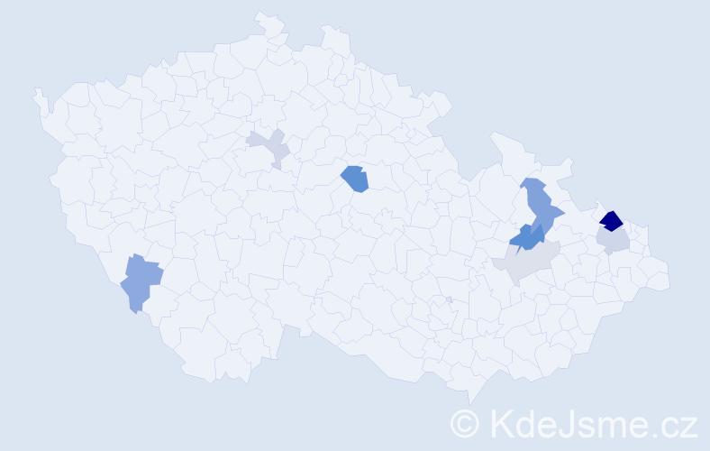 Příjmení: 'Hurinová', počet výskytů 20 v celé ČR